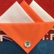 White and Orange Hankie With Orange Flap and Pin